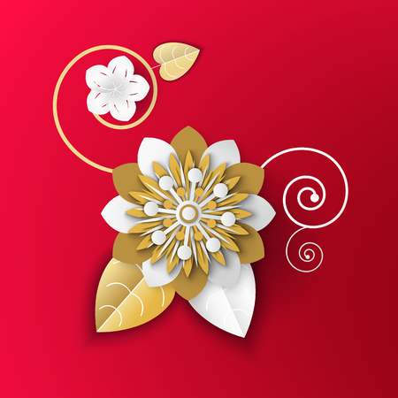 Realistic flower made of paper vector, origami Japanese style, traditional artwork of Asia, floral decoration and blooming gold and white colors flat style Banco de Imagens - 123106449
