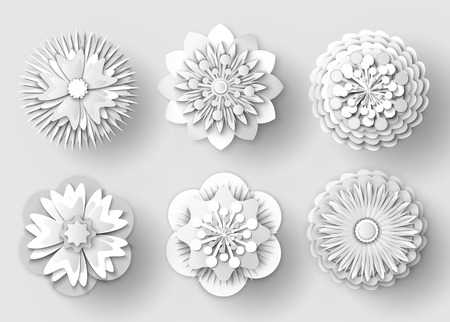 Flowers made of paper vector, isolated set of floral elements with ornaments, rounded shapes of plants with petals and foliage, shades of decoration