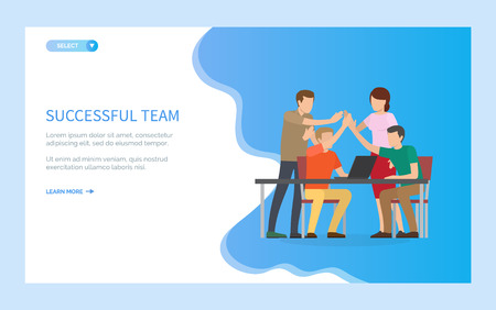People giving high-five vector, business project completion, man and woman successful team celebration of achievements, workplace environment. Website or webpage template, landing page flat style Illusztráció