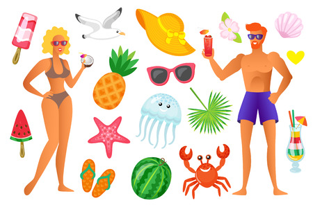 Summertime vacation vector, people and icons of seashell ice cream and accessories. Hat and watermelon on stick, crab and pineapple, jellyfish and cocktail Banque d'images - 123106452