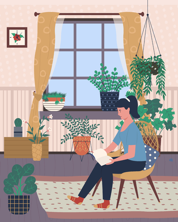 Flowers of greenhouse vector, plants growing in pots containers. Woman sitting on chair and reading book, hobby of person, orangery with flora foliage