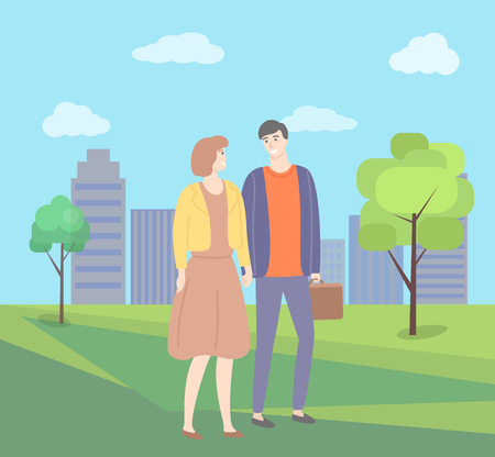 Man and woman holding hands vector couple in city park with trees and buildings. Male and female in love, guy and lady in dress, people in casual cloth Illustration