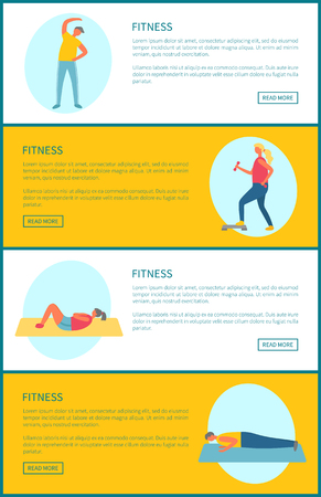 Fitness working out exercises vector, man doing stretching, woman on mat, crossfit and bodybuilding. Active lifestyle, website with text sample set Foto de archivo - 123106624
