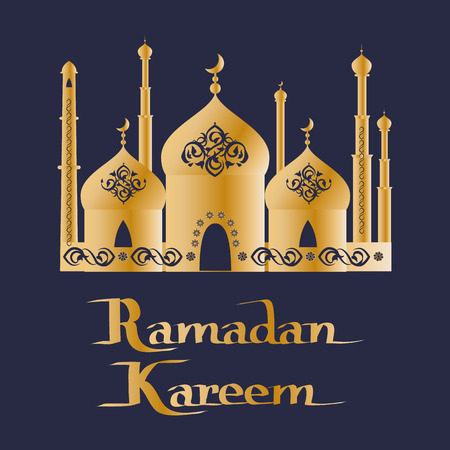 Ramadan Kareem greeting card design of Mosque, place of worship for Muslims with arabic ornaments on elaborate domes, prayer halls vector poster Illustration