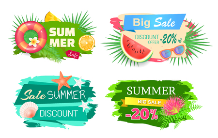 Summer time big sale banners set with text vector. Seashells and conch, starfish and lifebuoy. Watermelon fruit sunglasses accessory, discount offer