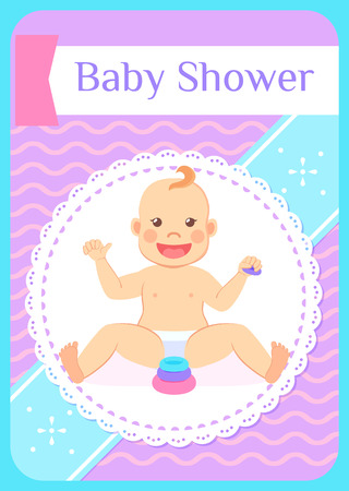 Baby shower greeting card, eight month child sitting without support and playing with wooden blocks. Vector infant in diaper and pyramid first toy constructor