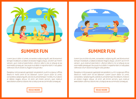 Summer fun vector, kids playing at beach, posters with text. Water fight guns loaded with liquid, boys on vacation having fun together flat style