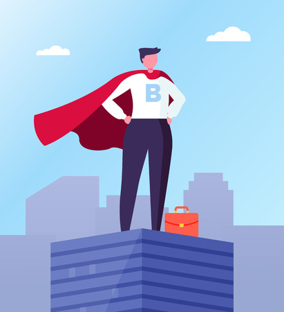Business hero, leader in superhero cloak on top of skyscraper in city center. Vector businessman with red briefcase, superhuman big boss, commercial director Vettoriali