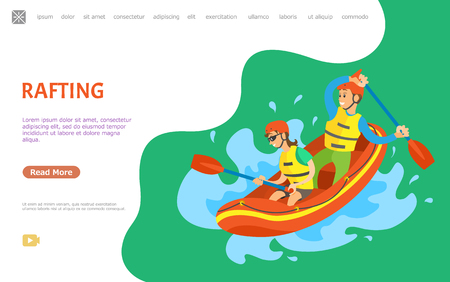 Rafting hobby vector, people in team with oars, splashes of water, summertime hobby activity. Male and female canoe and kayaking leisure lifestyle. Website or webpage template, landing page flat style