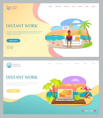 Distant work of freelancer sitting on sofa and working with laptop, sunset image, palm trees and ocean view, summertime online job on beach vector. Website or webpage template, landing page flat style Ilustração