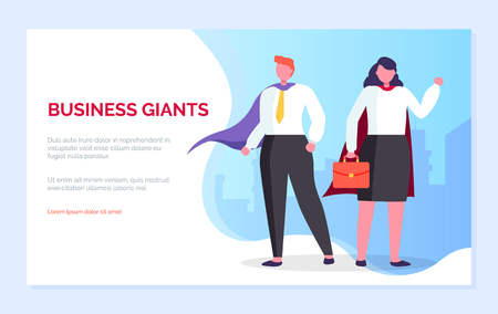 Business giants vector, woman holding briefcase, man wearing heroic gown, people with superpowers, almighty personages, characters team. Website or webpage template, landing page flat style