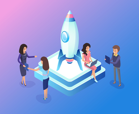Team working on business startup vector, people launching rocket standing on pedestal, man with laptop and information, woman talking to colleague