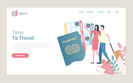 Time to travel vector, man and woman walking with baggage, passport identity document, couple. Traveling abroad, person with bags, flight tickets. Website or webpage template, landing page flat style