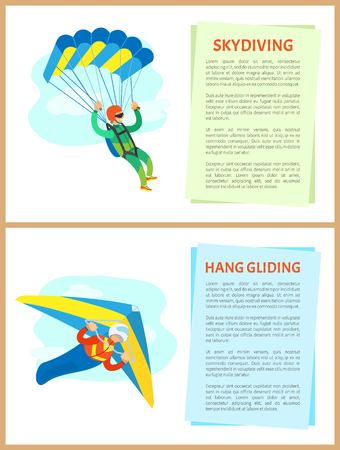 Skydiving and hang gliding vector, people leading active lifestyle, parachutist with equipment dangerous hobby of men. Posters with text sample set Иллюстрация