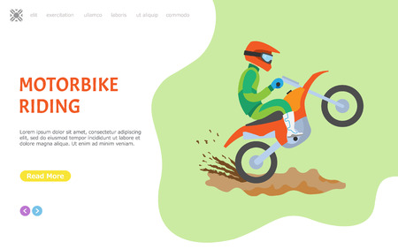Motorbike riding hobby of man vector, person wearing special uniform and helmet to protect head. Website or webpage template, landing page flat style active lifestyle of male sitting on transport