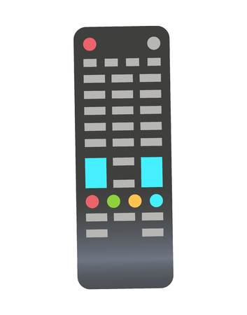Remote control vector, object used for wireless controlling of television and navigation flat style isolated icon. Closeup of item with colored buttons