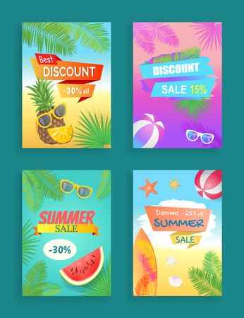 Best discount offer, summer sale, vector shaped ribbon. Sun glasses, beach ball, pineapple and watermelon, surfboard and palm leaves, shell and star