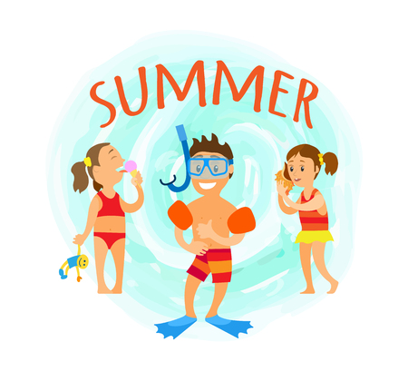 Summer fun, boy wearing special mask for diving, girl listening to seashell noise. Kid eating ice cream and holding toy in hands. Summertime vacation