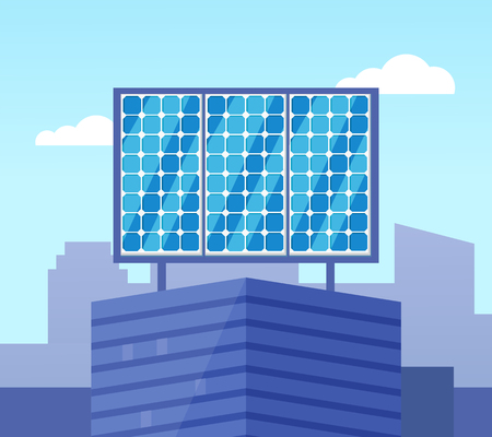 Solar powered blue building in flat style, glossy view of eco equipment on building roof, alternative electric generator, ecological collector vector