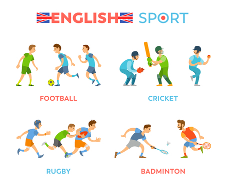 English sport vector, boys playing together flat style. Isolated people players of football and cricket, badminton and rugby, youth with bats and balls Illustration
