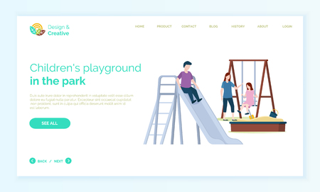 Children playground web online vector, mother playing with daughter and son. Little girl on swings, boy riding, sand with shower and bucket for sand. Website or webpage template, landing page flat style Banque d'images - 123876961