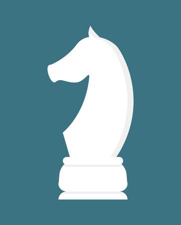 Szachy biały kawałek konia na niebieskim tle. Koncepcja wektor strategii i wyzwania, pionek w stylu płaski. Logo ogiera lub konia w grze stołowej, grający w zawodach