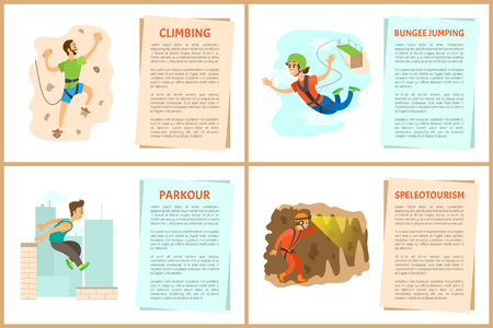 People going in for extreme sports vector, poster with text. Flat style extriming climbing, bungee jumping woman, parkour in city and speleotourism man in cave Ilustração