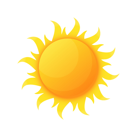 Sun illuminating warmth and heat vector, isolated sunburst, solar planet floating, isolated icon in flat style. Sunlight and fine weather beam and sunburst