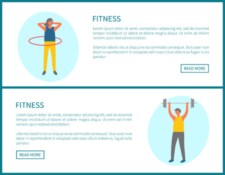 Fitness webpage decorated by sporty man with dumbbell and woman with hoop, portrait view of people doing exercise, lose weight and pumping muscles vector