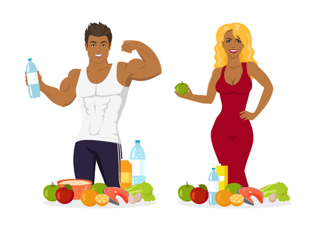 Fitness people leading healthy lifestyle vector, man and woman with bottle of fresh water, vegetables and fruits, porridge in bowl, sportsman and sportswoman with healthy food, apple and vitamins diet