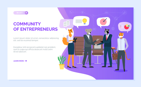Community of entrepreneurs vector, fox and raccoon on meeting, hipster animals working at office, partnership and job secretary, handshaking. Website or webpage template, landing page flat style