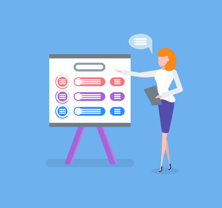 Infographic on whiteboard, woman giving presentation vector. Business plan on board with explanation from manager, presenter with clipboard explaining