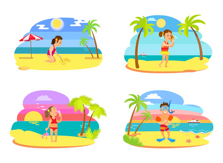 Girl standing with seashell, eating ice-cream, drawing sketch on sand. Boy wearing underwater mask, flippers and inflatable circles, smiling kids vector