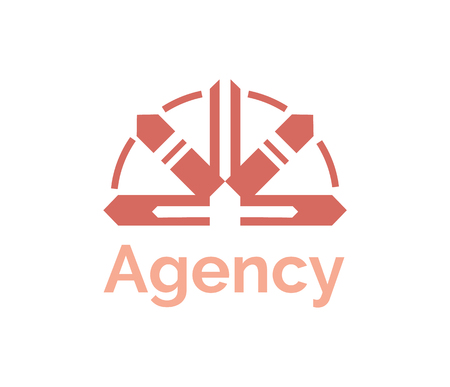 Agency logo sign in shape of round or pointers in semicircle, flat red symbol for company, badge or logotype, creative design of modern branding vector Standard-Bild - 123877036