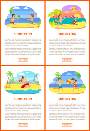 Summer fun activity set of girl in inflatable circle, friends playing volleyball, running with kite and squirts. Teenagers portrait view on beach vector