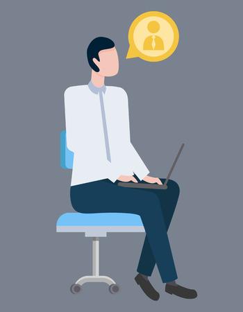 Geschäftsmannvektor, männliches Sitzen auf Konferenz mit Laptop lokalisiert. Person mit Profilsymbol, die dem Seminar zuhört. Aufmerksames Tragen von formeller Kleidung Vektorgrafik