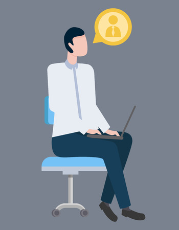 Businessman vector, male sitting on conference with laptop isolated. Person with profile icon listening to seminar. Attentive wearing formal wear