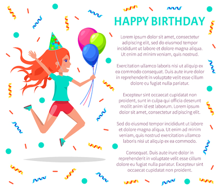 Happy birthday poster, teenage girl in festive hat jumping and celebrating party. Vector woman with air balloons leaping from joy, tinsels and text sample