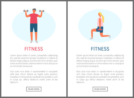 Fitness website vector, man with dumbbells and woman doing squats training. Butt and muscles improvement, weight loss and strengthening of organism