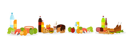 Fast food and healthy meal decorations, fish with eggs and greenery, hamburger and chicken, soda and cake, porridge in bowl, potatoes and pizza vector Illustration