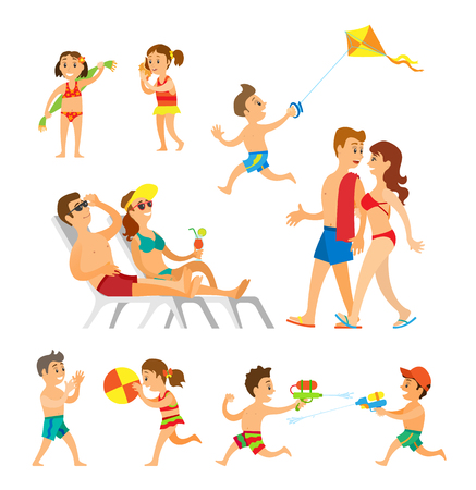 Children playing at beach vector, woman and man adults walking holding towel. Kids with volleyball ball, girl with seashell, boy with kite and water fight Foto de archivo - 123877046