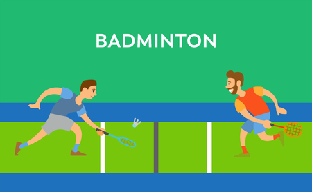 Badminton poster decorated by competition between men, males character running with racket and toss shuttlecock, people in sportswear, activity vector