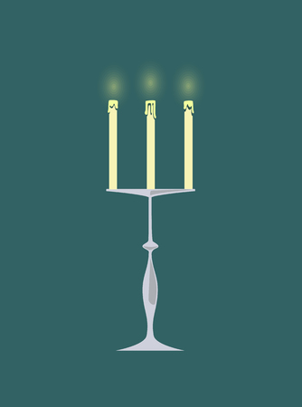 Candle with burning flames vector isolated icon candlestick decor. Metal construction romantic atmosphere and celebration of special occasion in restaurant