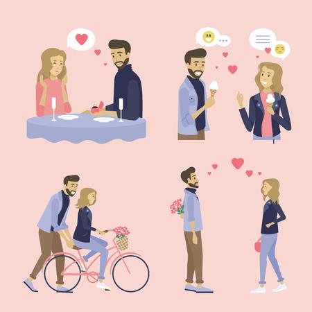 Gente enamorada en vector de fechas, conjunto de actividades para parejas, mujer en bicicleta, comiendo helado y cena de citas en el restaurante, hombre proponiendo estilo plano de dama. Cita con gerlfriend un novio Ilustración de vector