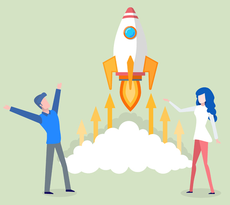 People working on business project startup vector. Man and woman standing by flying rocket with fire flames and clouds, arrows arrowheads pointing up Illustration