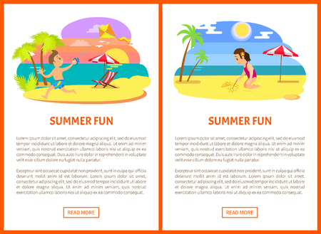 Summer fun poster of activity on beach, boy running with kite, girl sitting and drawing on sand, palm trees and ocean view, parasol and chair vector Illustration