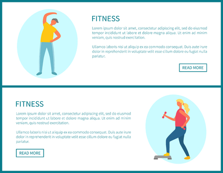 Workout plan, fitness and sport, morning exercising web page template vector. Bending over and lunges with dumbbells, training and healthy lifestyle