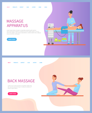 Apparatus massage for back of lying woman with towel, cosmetics under table and siting doctor stretching client on floor. Relaxation of body vector