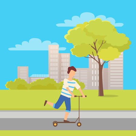 Boy on scooter, balancing on urban transport in city park with green trees and buildings on background. Child on vehicle ridden as recreation, cartoon style