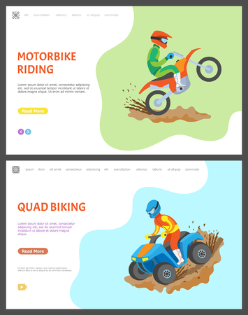 Motorbike and quad biking vector, people riding bikes in dirt and mud, competition race and challenge for men. Motorcycle driver with helmet. Website or webpage template, landing page flat style Illustration